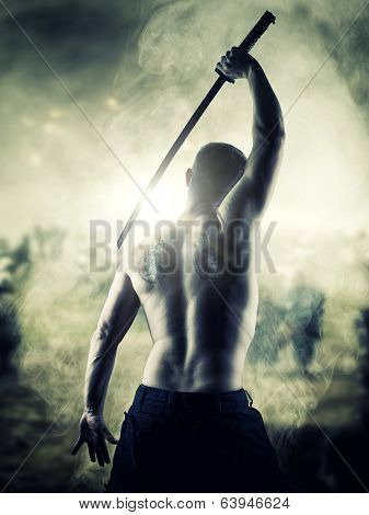 Warrior with his Katana sword