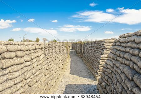 Trench World War Sandbags And Blue Sky