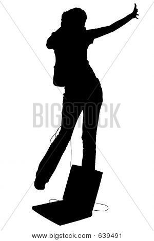 Silhouette With Clipping Path Teen Girl Dancing With Laptop And