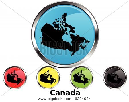 Glossy vector map button of Canada