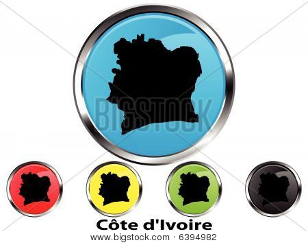 Glossy vector map button of Cote d'Ivoire (Ivory Coast)