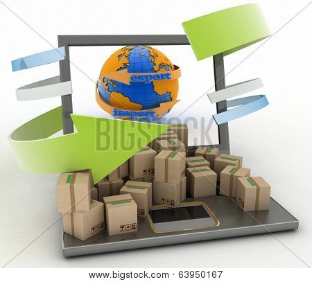 Import and export arrow around earth for business. Concept of online goods orders worldwide. 3d illustration on white background