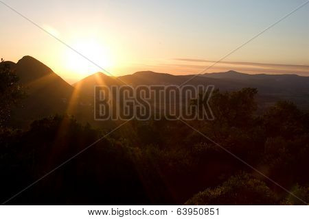 Orange Sunset In The Mountains