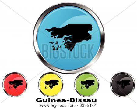 Glossy vector map button of Guinea-Bissau