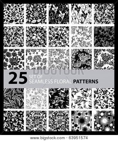 Big Vector Set Of Twenty Five Seamless Floral Patterns