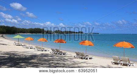 Parasols on Mont-Choisy beach, Mauritius island
