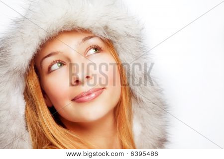 Christmas Portrait Of Happy Pensive Woman