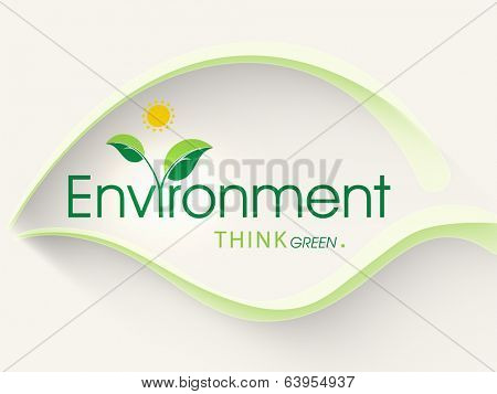 World Environment Day concept with green leaf design and stylish text on abstract background.