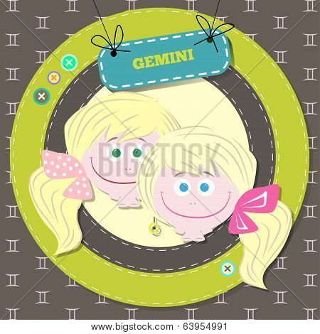 Zodiac signs collection. Cute horoscope - GEMINI.