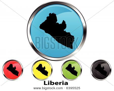 Glossy vector map button of Liberia
