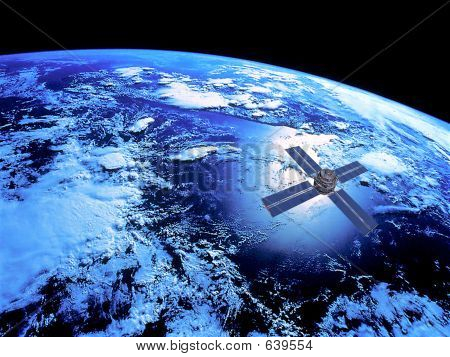 Earth With Satlite In Orbit