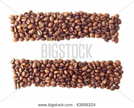 Equal sign from coffee beans