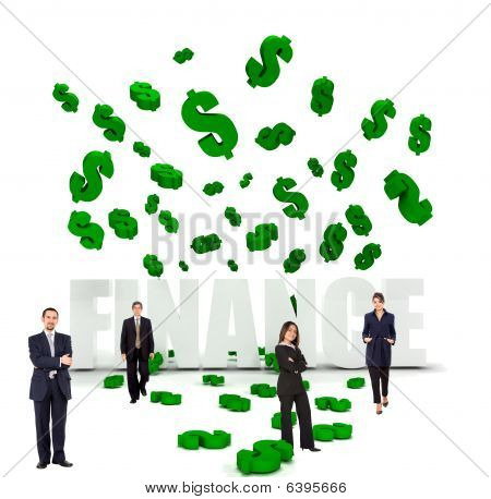Businesspeople And Dollar Symbols