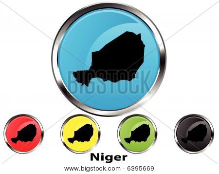 Glossy vector map button of Niger