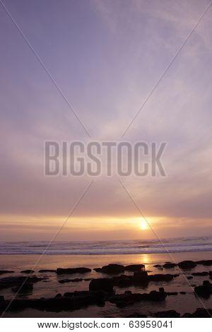 Golden Sun Setting On The Pacific Ocean