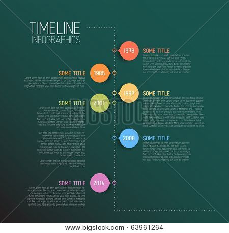 Vector Teal Infographic timeline report template with icons - retro version