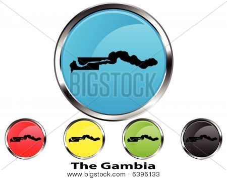 Glossy vector map button of The Gambia