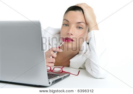 Business Woman With Red Lipstick And Laptop