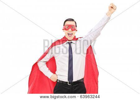 Superhero with raised fist isolated on white background