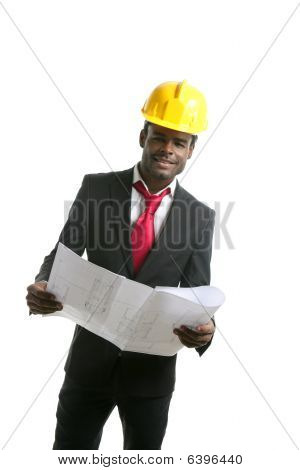 African American Architect Engineer Yellow Hardhat