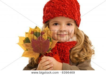 Little Girl Portrait With Autumn Leaves