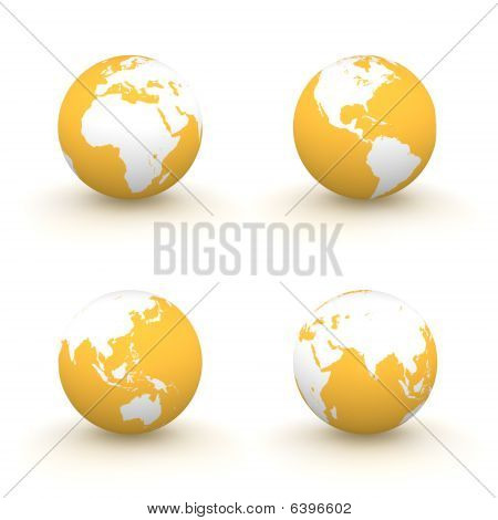 3D Globes In White And Orange