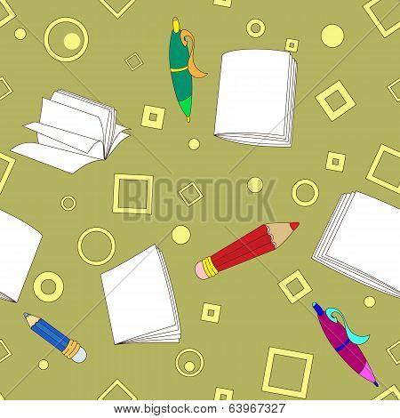 School notes seamless pattern on khaki background