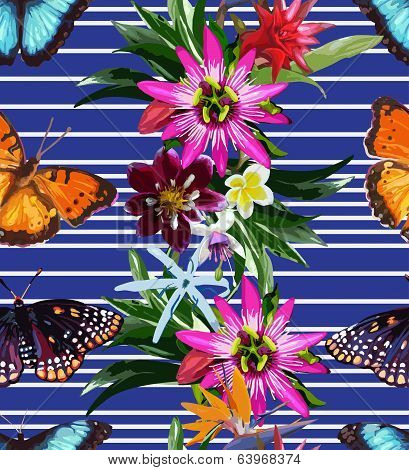 seamless pattern of butterflies and flowers