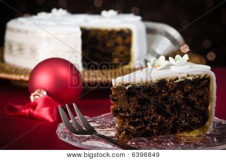 Rebanada de pastel de Navidad