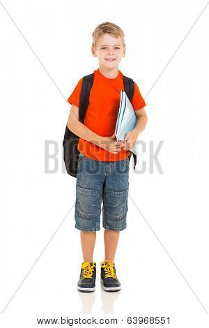 portrait of schoolboy with backpack isolated on white