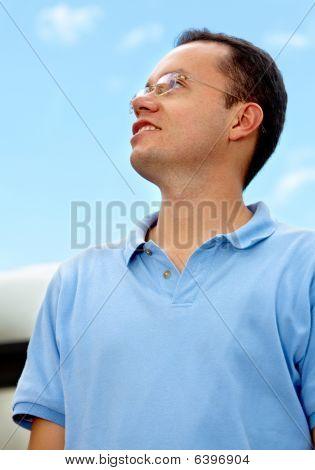 Pensive Man Outdoors