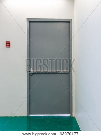 Emergency Exit Door With Fire Alarm Button