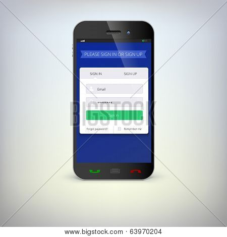 Smartphone with registration form.
