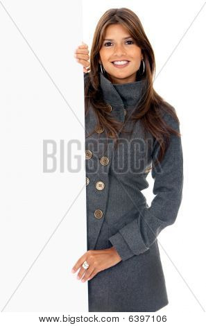 Business Woman Holding An Ad