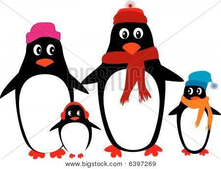 Funny Penguin Family