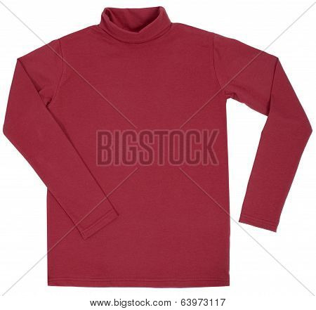 Red turtleneck. Isolated on white background.