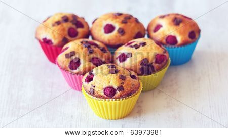 Group Of Delicious Muffins Placed On Table
