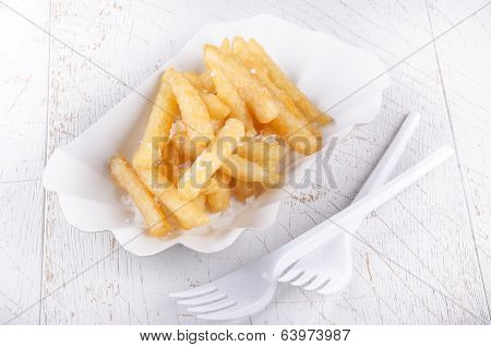 French Fries And White Paperboard Container