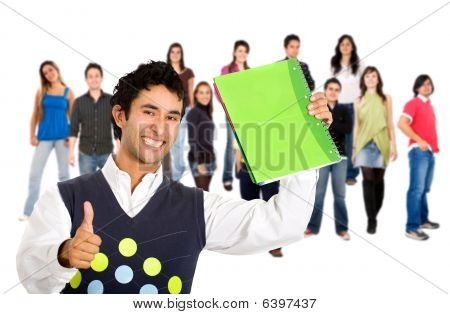 Happy Student With A Group Of People