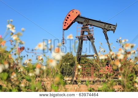 Oil Pump Jack (sucker Rod Beam) In The Field On Sunny Day