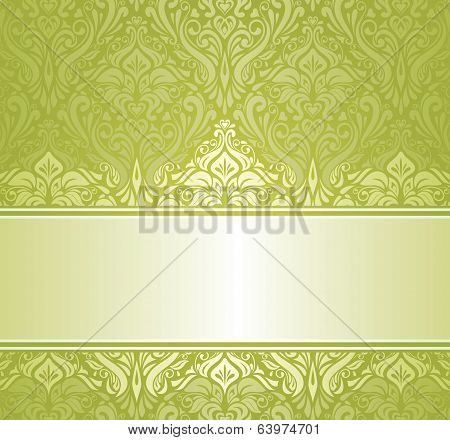 Green & white pale ornamental vintage invitation design