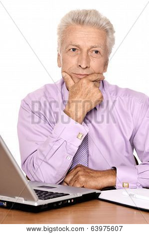 Elderly businessman  with laptop