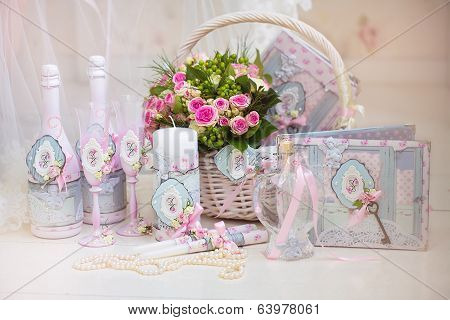 Wedding Accessories For The Morning Of The Bride In Pink . Wedding Bouquet Of The Bride In The Baske