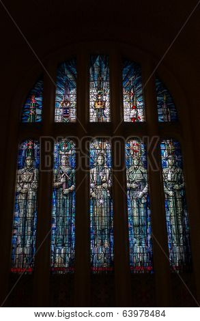CANBERRA, AUSTRALIA - 26TH APRIL 2014: Stained glass windows at Australian War Memorial