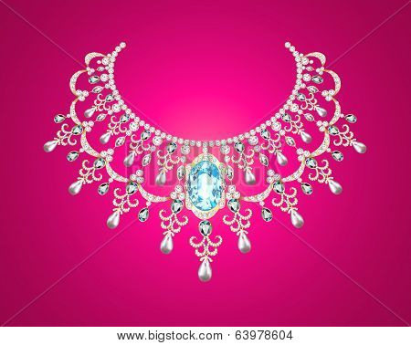 Of A Woman With Pearl Necklace On A Pink Background