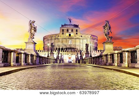 Castel Sant Angelo From  Bridge, Rome.
