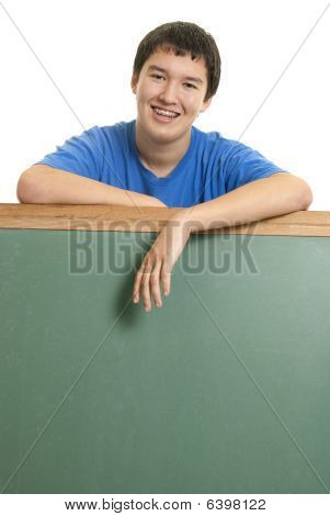 Asian Teen With Blank Chalkboard