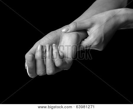 Woman Holds Her Wrist, Carpal Syndrome