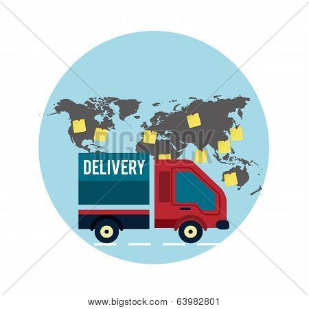 Delivery Service 24 Hours . Cargo Truck Symbol