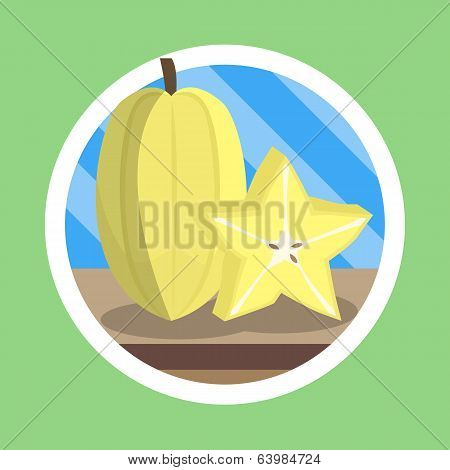Starfruit Flat Design Illustration